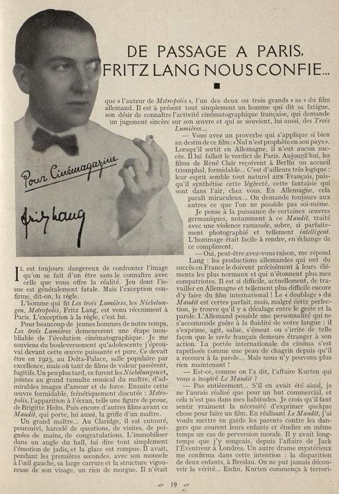 paru dans Cinémagazine de mai 1932