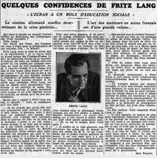paru dans Le Matin du 15 avril 1932