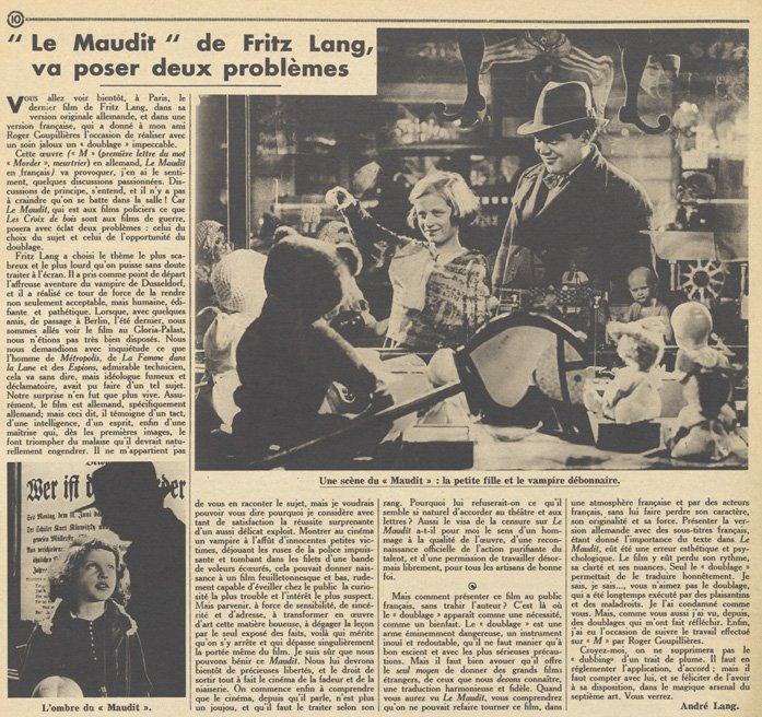 paru dans Pour Vous du 24 mars 1932