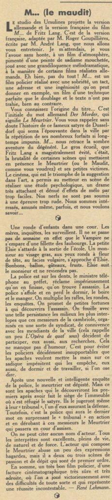 paru dans Pour Vous du 14 avril 1932
