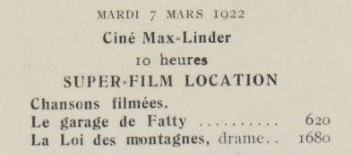 paru dans Ciné-Journal du 4 mars 1922