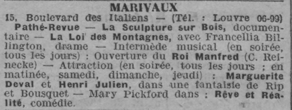 paru dans Comoedia du 15 mai 1922