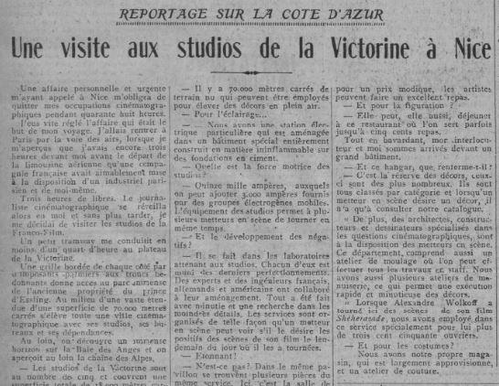 paru dans Comoedia du 20 août 1928