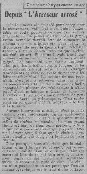 paru dans Comoedia du 17 Octobre 1924