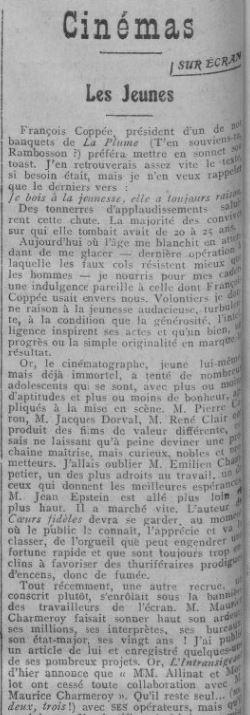 paru dans Comoedia du 26 avril 1924