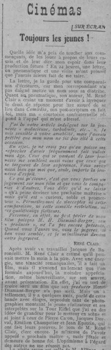 paru dans Comoedia Dimanche 27 Avril 1924