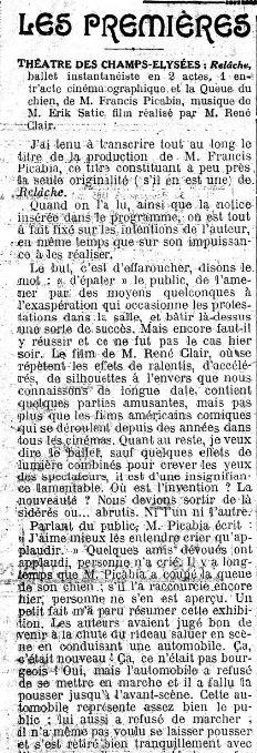 paru dans Le Figaro du 9 décembre 1924