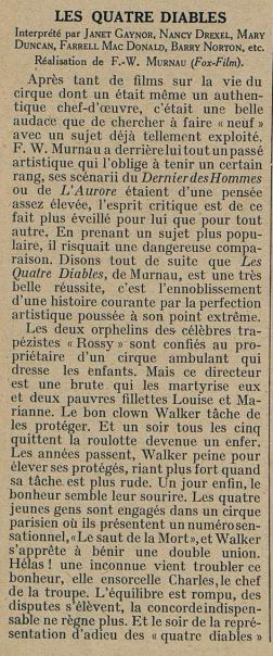paru dans Cinémagazine du 15 Mars 1929