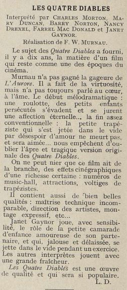 paru dans Cinémagazine de Mars 1930