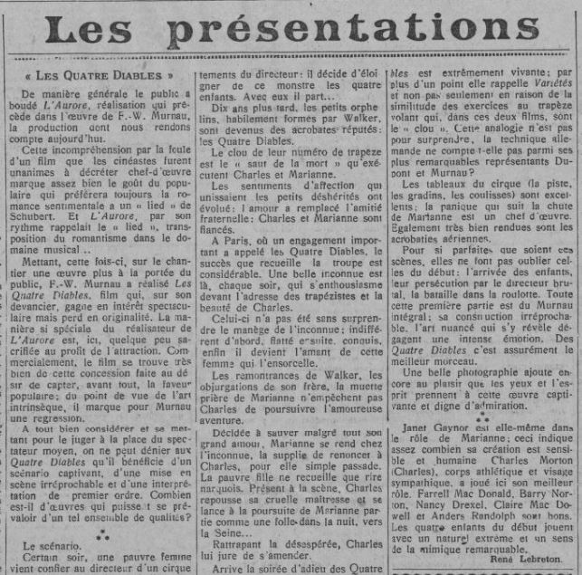 paru dans Comoedia du 7 mars 1929