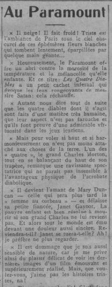 paru dans Comoedia du 8 février 1930