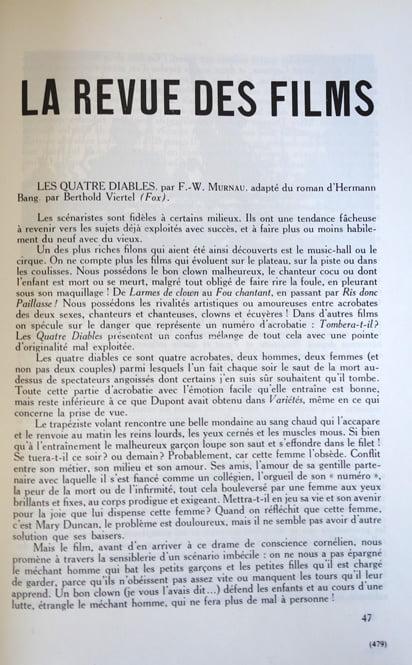 paru dans La Revue du Cinéma du 1 Mars 1930