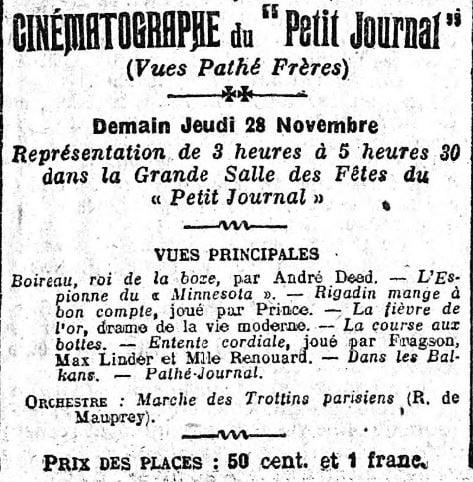 paru dans Le Petit Journal du 27 novembre 1912